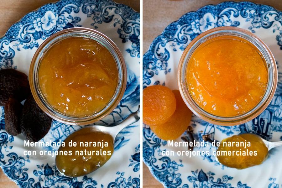 Mermelada de naranja con orejones naturales vs. artificiales