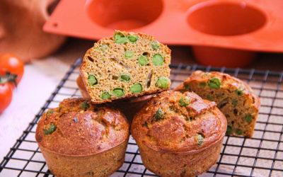 Muffins salados de guisantes
