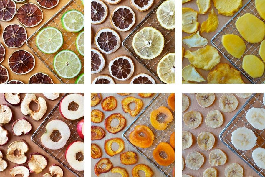 Frutas deshidratados en bandeja de deshidratación