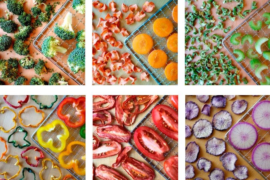 vegetales deshidratados en bandeja de deshidratación