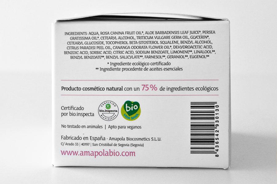INCI de un producto de cosmética ecológica